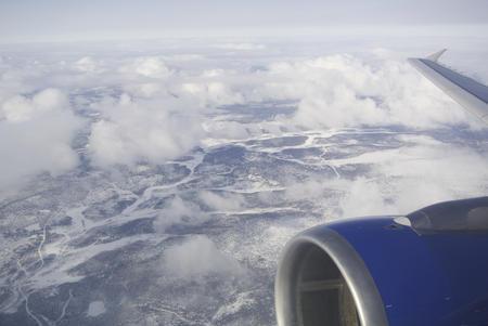 Blick auf Mehamn aus dem Flugzeug