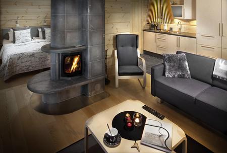 Superior-Doppelzimmer mit Kamin und Wohnbereich