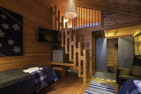 Standard-Doppelzimmer im Blockhaus mit Schlafempore