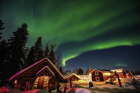Wikingerhütte unter dem Polarlicht